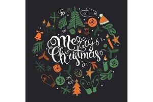 3 Christmas illustration, lettering