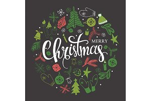 3 Christmas illustration, lettering