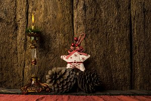Candle lit, rustic Christmas card.
