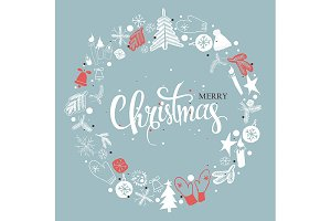 2 Christmas illustration, lettering