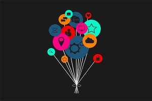 Flat social media icons in balloons