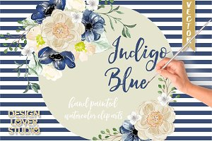 Watercolor Indigo Blue clip arts