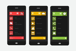 Material design red, yellow, green