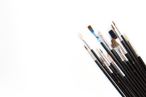 Paintbrushes on white mockup