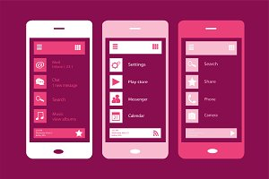 Material design pink phone vector