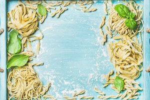 Fresh uncooked Italian pasta