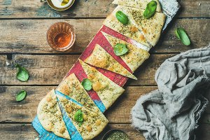 Focaccia with basil leaves