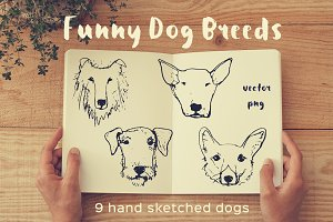 Funny Dog Heads (sketch style)