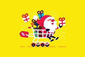 Santa Claus Shopping Cart