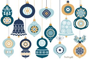 Blue Christmas ornaments collection