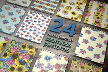 24 hand painted seamless patterns 2