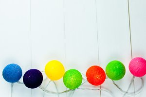 Bunch of colorful Christmas round shapes decorated on white background