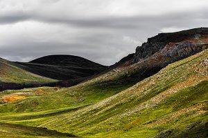 Icelandic hillside under the shadow