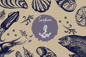 Vintage vector seafood set