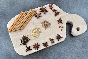 kitchen table with spices