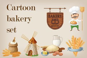 Cartoon bakery vector set