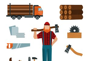 Lumberjack cartoon character vector