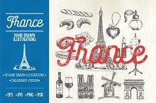 Hand drawn France illustrations
