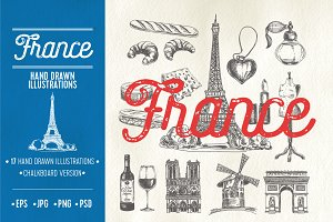 Hand drawn France illustrations