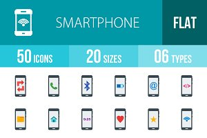 50 Smartphone Flat Icons