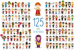 125 Kids of the world cartoon style