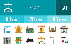 50 Town Flat Icons