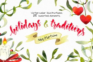 Mistletoe - watercolor illustrations