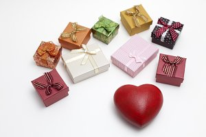 Gift boxes and heart