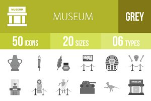 50 Museum Greyscale Icons