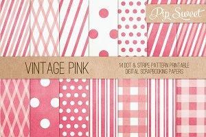 Vintage Pink 14 Pattern Set