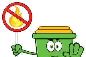 Angry Green Recycle Bin