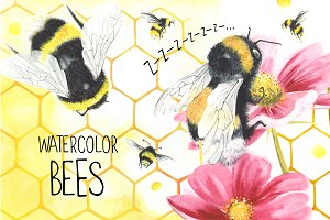 Watercolor bees