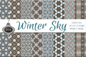 Winter Sky Blue Pattern Backgrounds