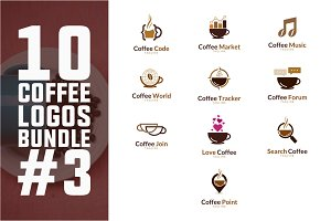 10 Coffee Logo Bundle #3