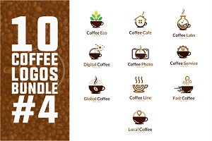 10 Coffee Logo Bundle #4