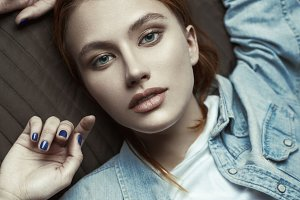 Beauty portrait of red-haired model