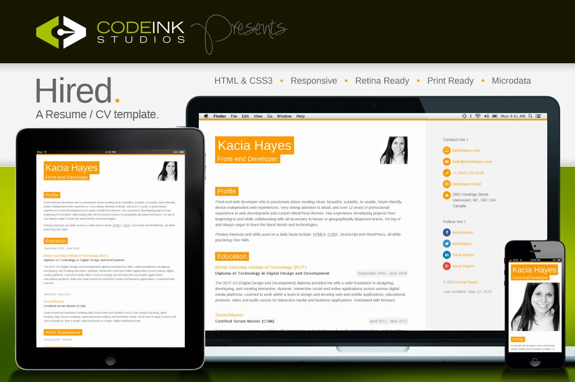 Hired - A Responsive Resume Template ~ Website Templates ~ Creative ...