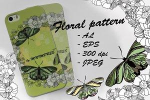 Floral pattern, butterfly, spors