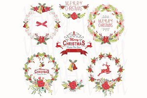 Christmas Wreath Design Elements