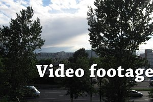 Video/timelapse trees,srteet,cars