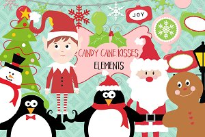 Candy Cane Kisses Christmas Clip-Art