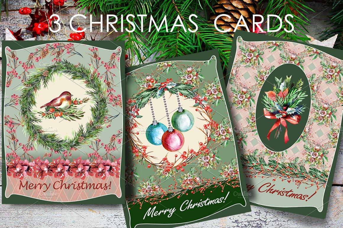 3 Retro Christmas Cards ~ Illustrations ~ Creative Market