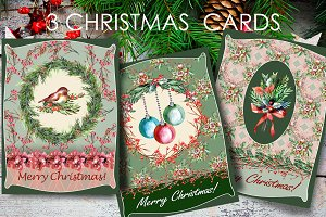 3 Retro Christmas Cards