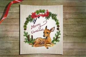 Little Deer watercolor clip art