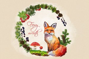 Foxy wreath watercolor clip art