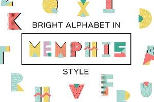 Bright Alphabet in Memphis Style