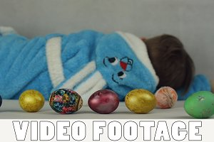 Boy in the costume of Easter Bunny