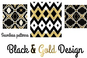 Set of 3 GOLD & Black patterns