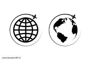 Plane Globe icon