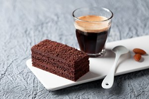 Piece of chocolate cake and coffee